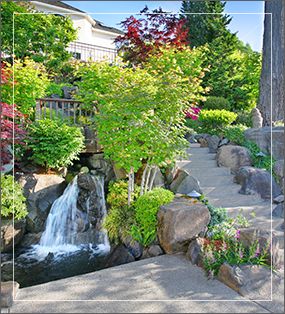 Image of background with stairs and waterfall